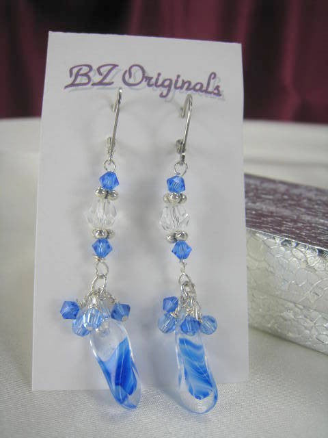 Sapphire Blue Duckbill Glass Beads and Swarovski Crystal Earrings on Sterling Silver Leverbacks - Odyssey Creations