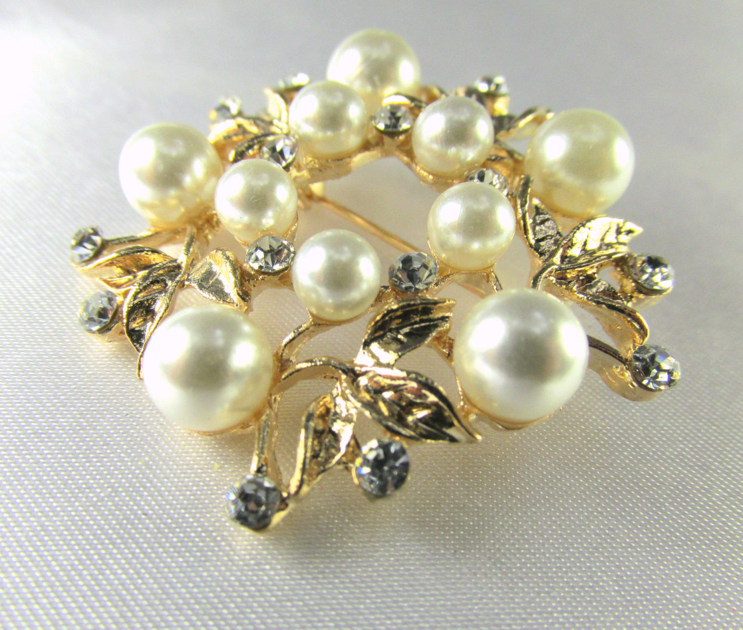 Rose Gold, White Pearl and Clear Crystal Flower Brooch - Odyssey Creations