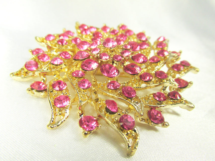 Pink and Gold 2.75 Inch Flower Brooch - Odyssey Creations