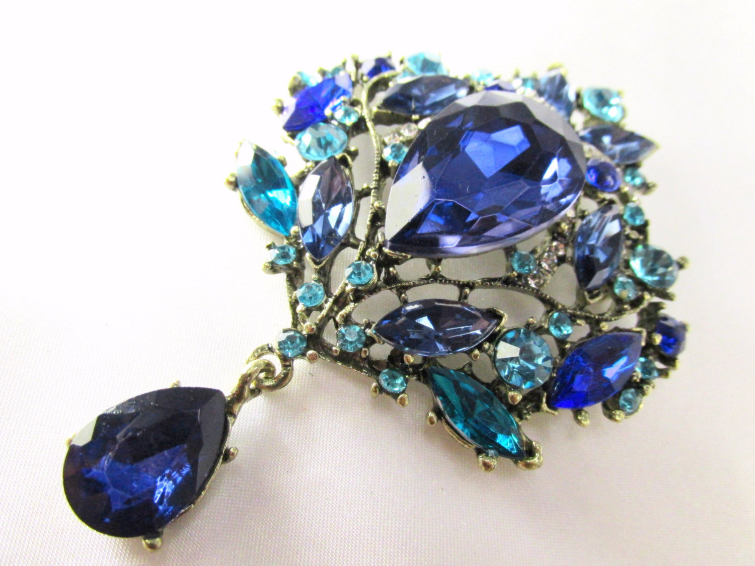 Blue and Turquoise Crystal Extra Large Brooch - Odyssey Creations