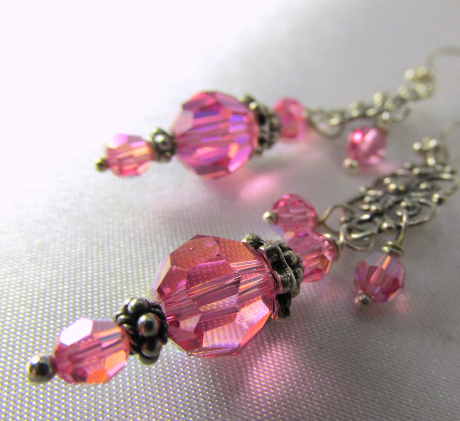 Swarovski Pink Rose Crystal Filigree Silver Earrings with all Sterling Silver Metal - Odyssey Creations
