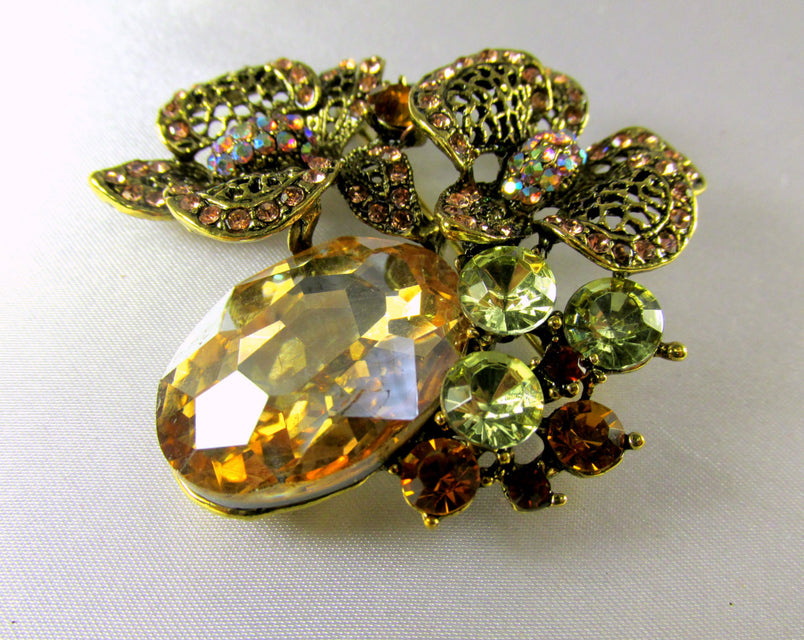 Light Topaz Antique Gold Cluster Brooch - Odyssey Creations