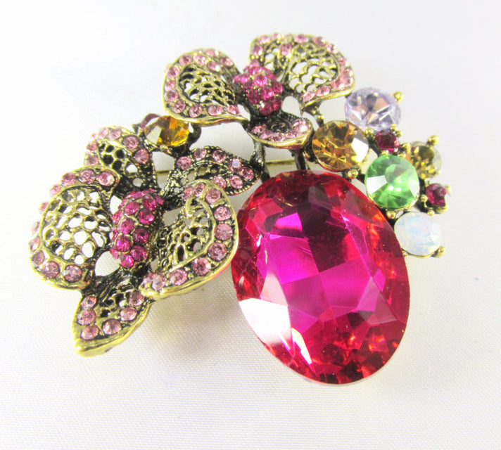 Fuchsia  Antique Gold Cluster Brooch Jewlry Pin - Odyssey Creations