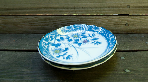 Blue and White Vintage Floral Plates