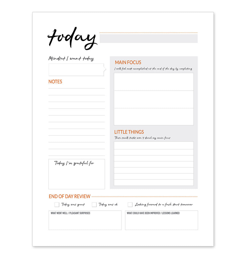 Daily Focus Notepad