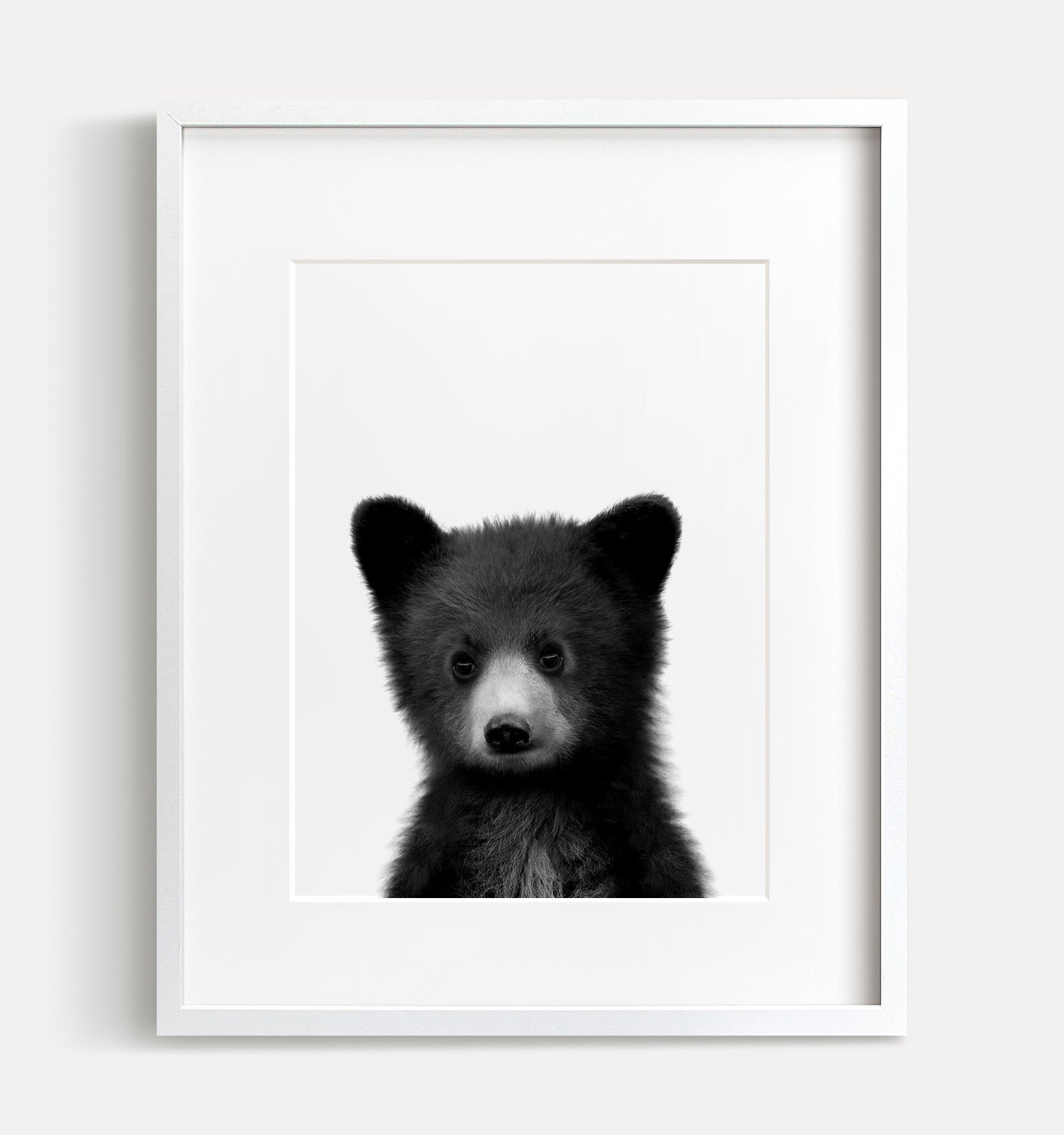 Baby Black Bear Print - Black and White - The Crown Prints