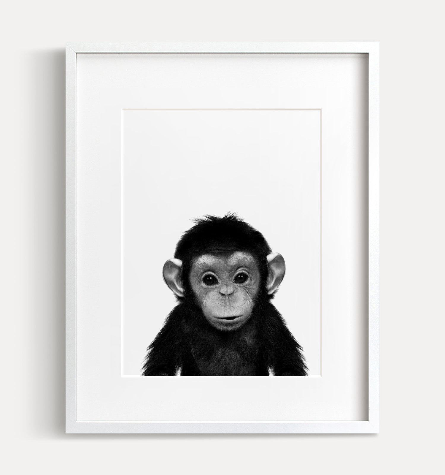 Baby Chimpanzee Printable Art - Black and White
