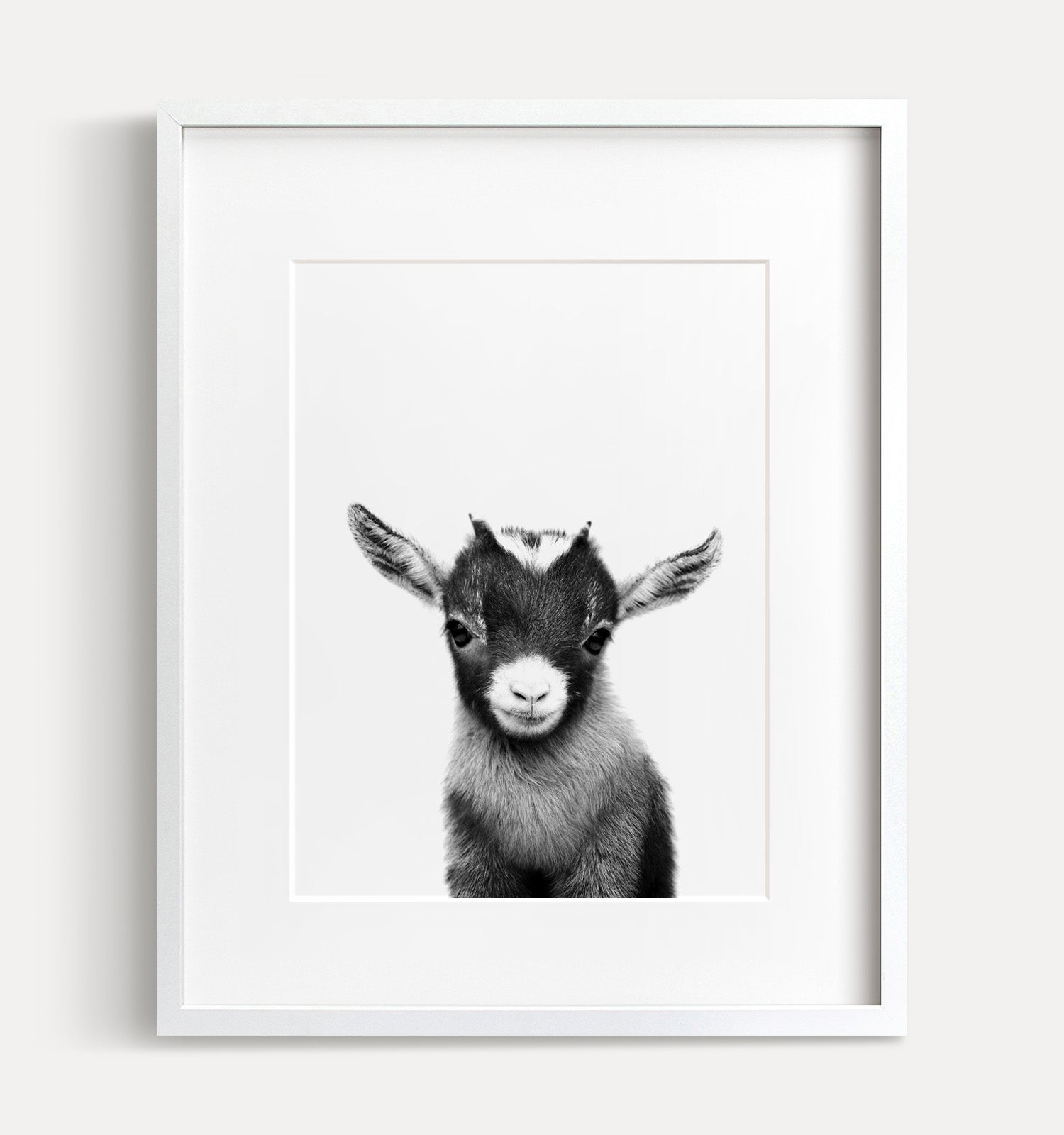 Baby Goat Printable Art - Black and White