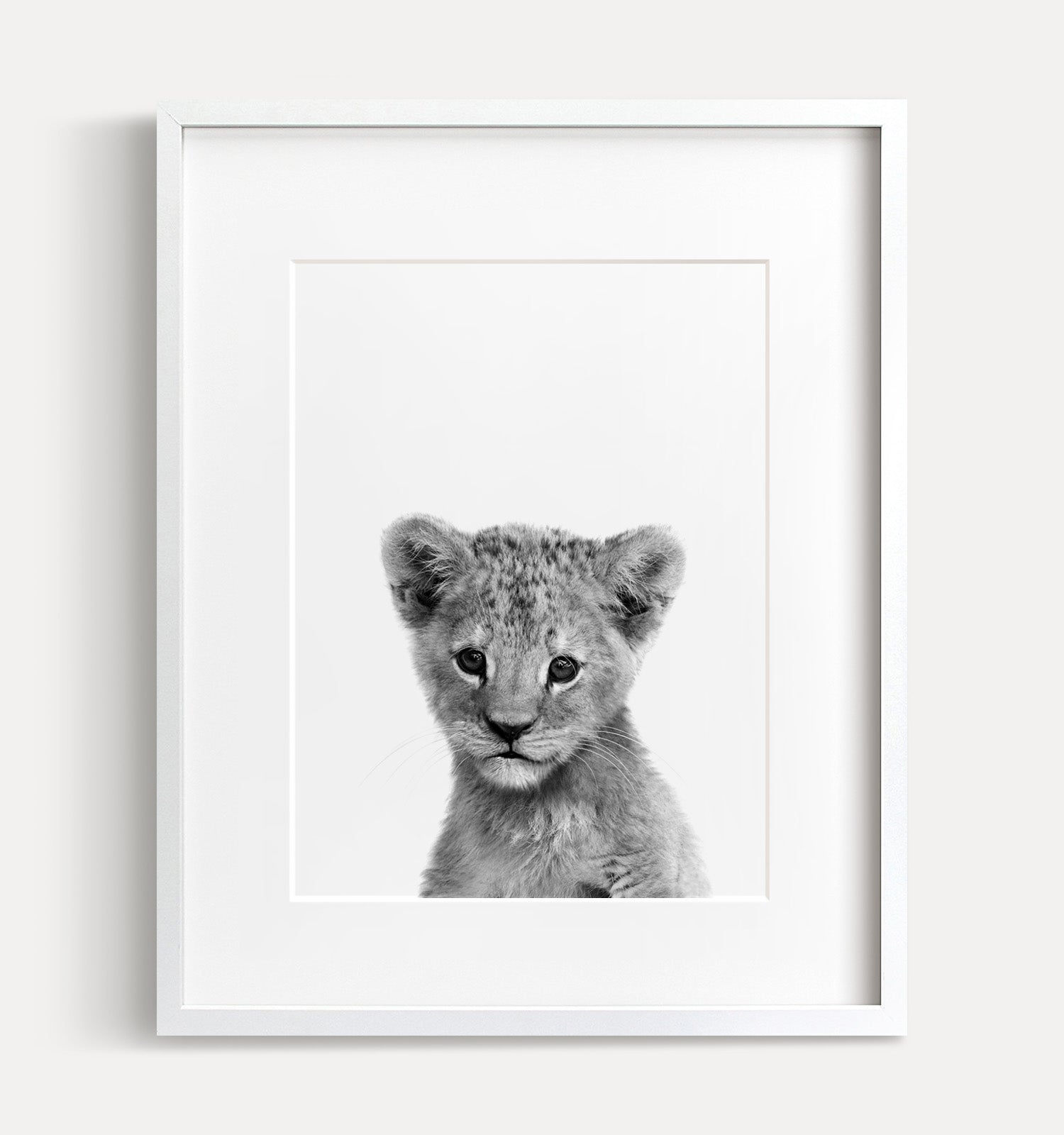Baby Lion Printable Art - Black and White