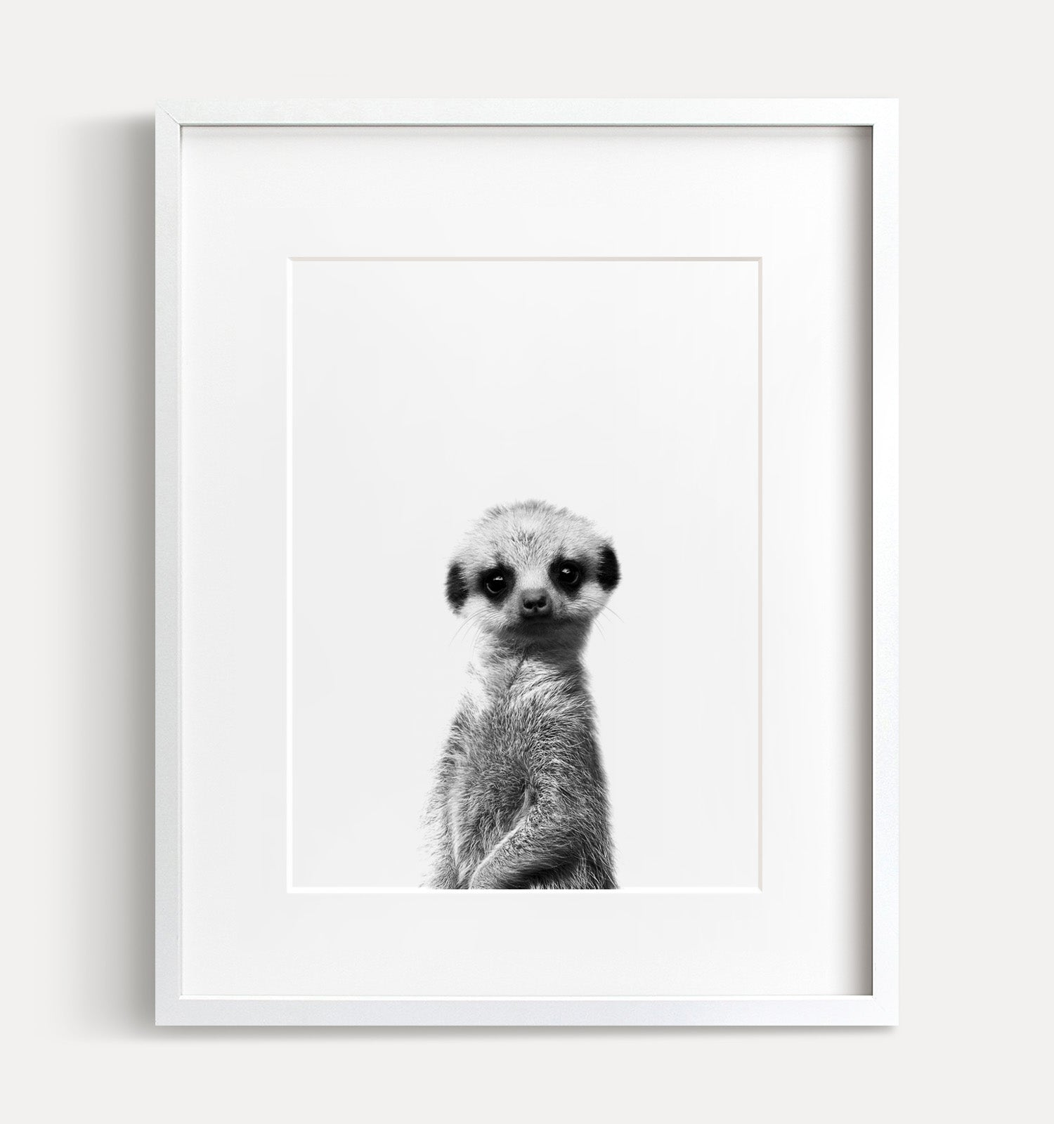Baby Meerkat Printable Art - Black and White