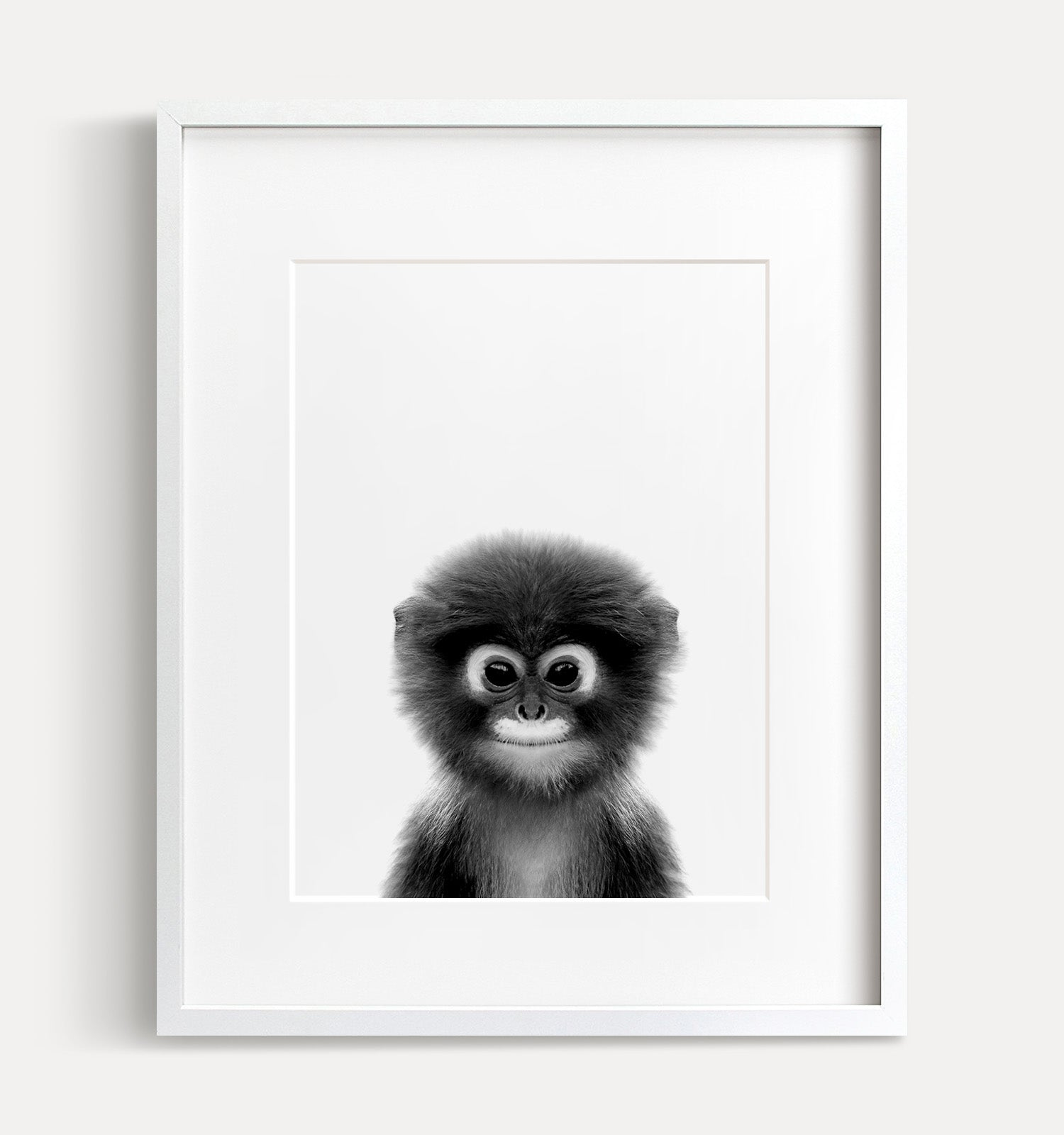 Baby Monkey Printable Art - Black and White