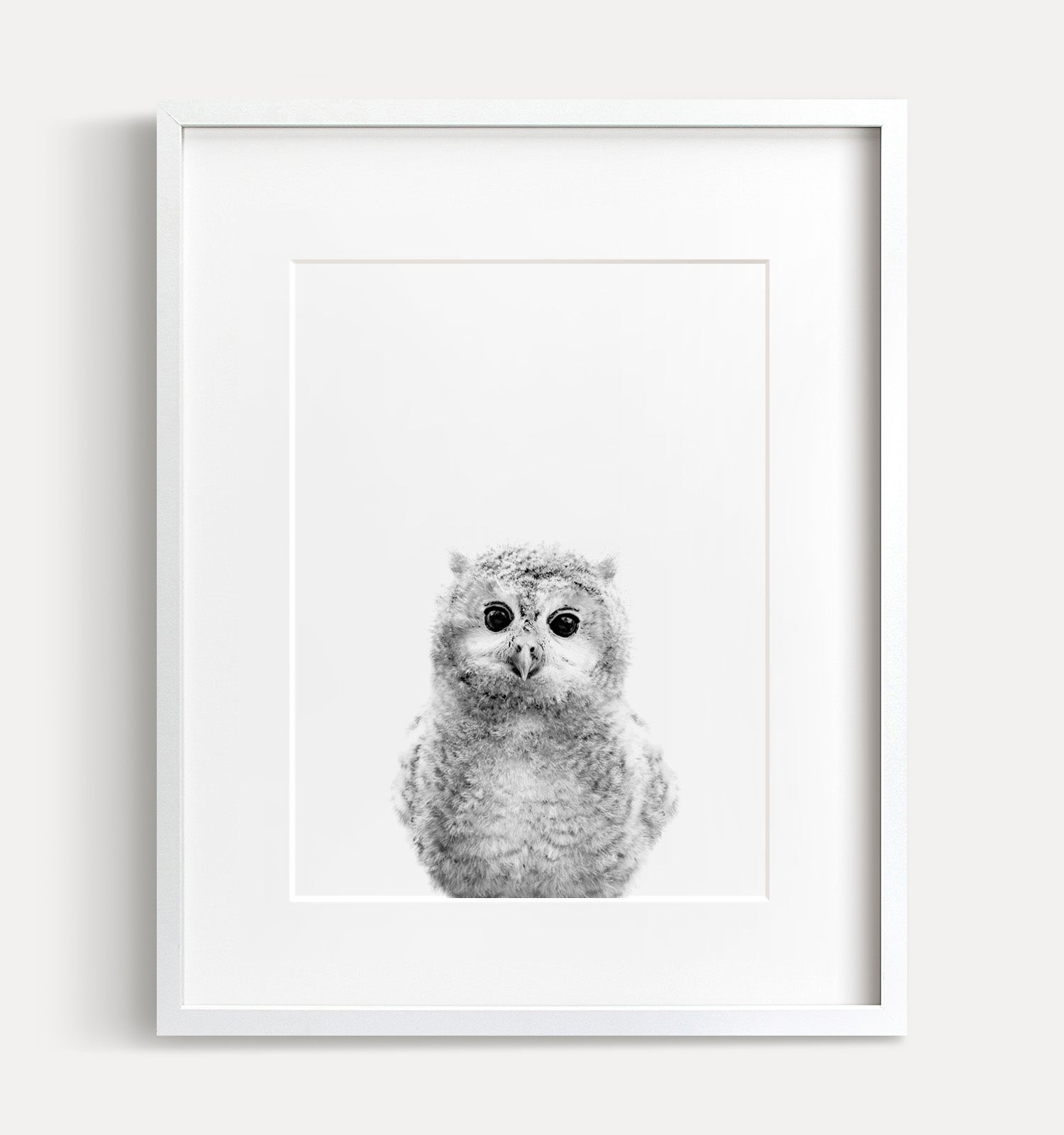 Baby Owl Printable Art - Black and White