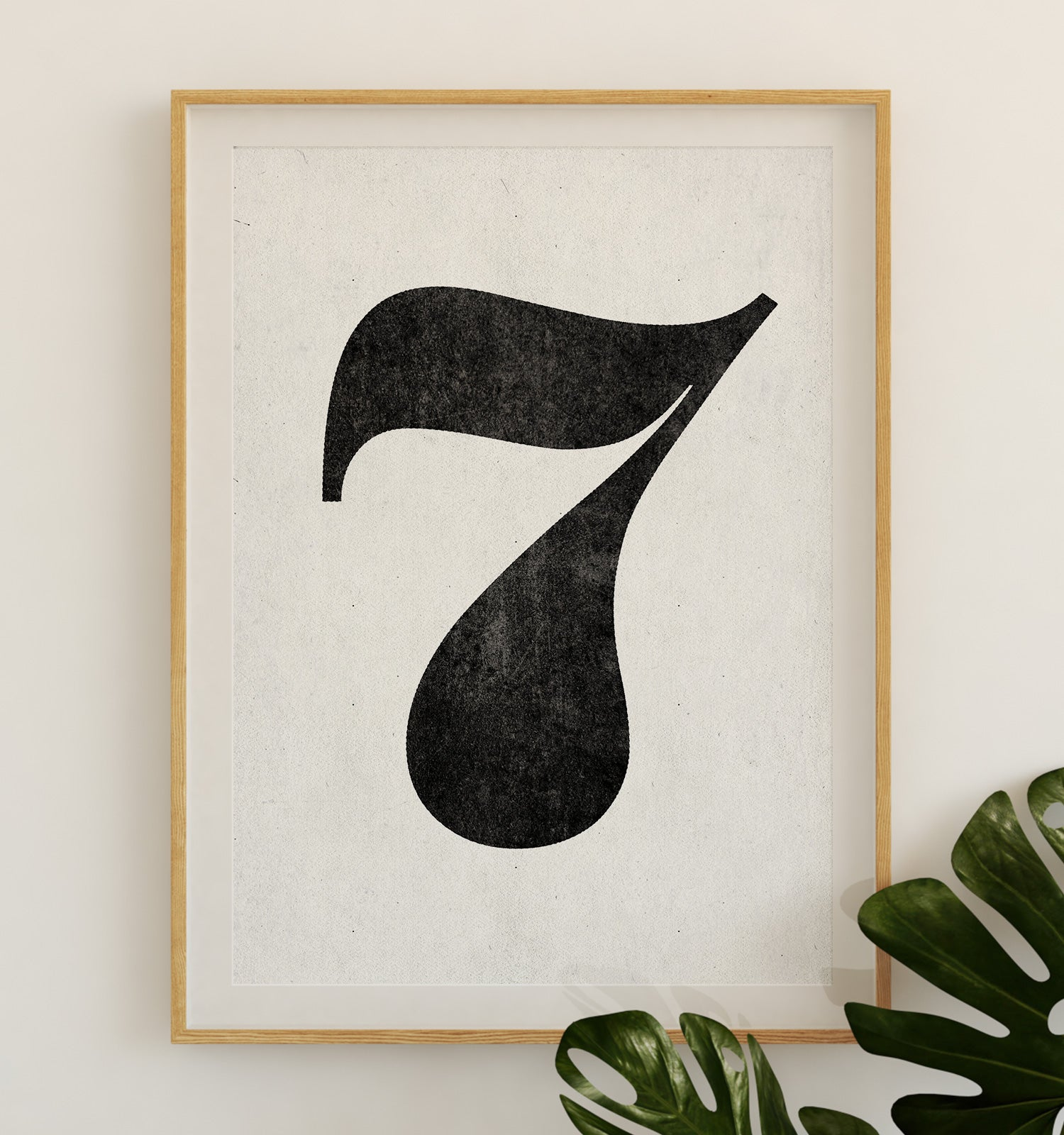 Number Seven Printable Art (White)