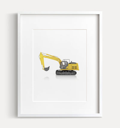 Track Excavator Printable Art - Vertical