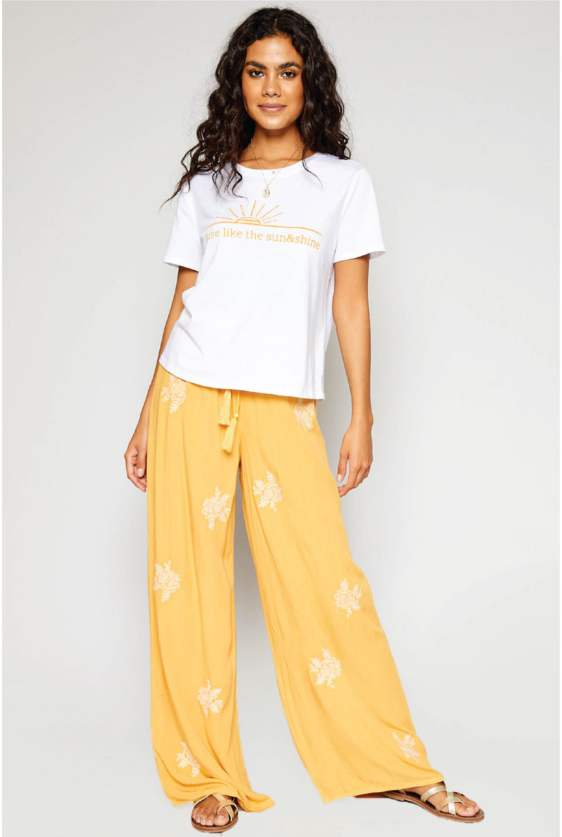 Rising Sun Embroidered Pants