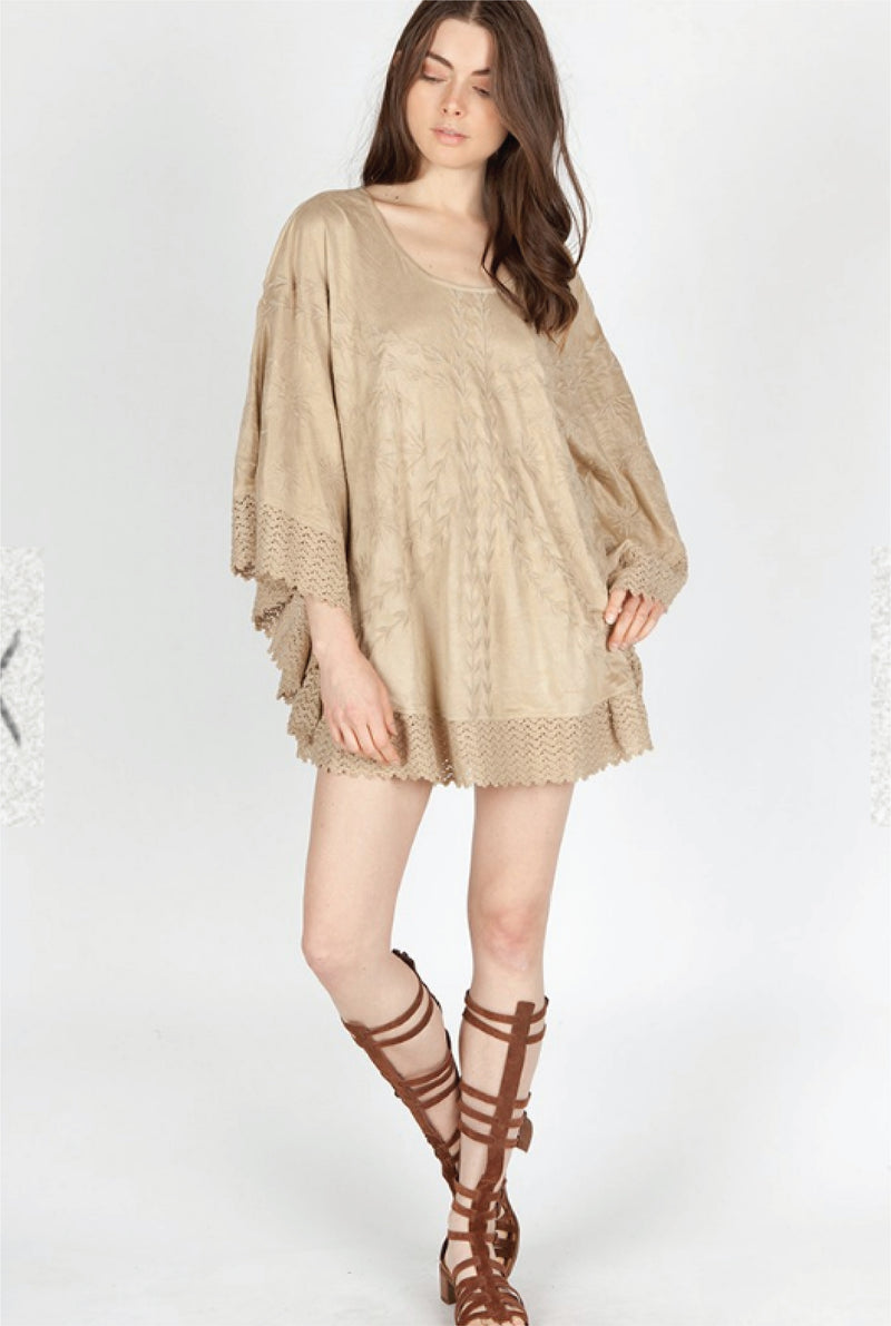 Eileen Embroidered Poncho - Tucker Brown