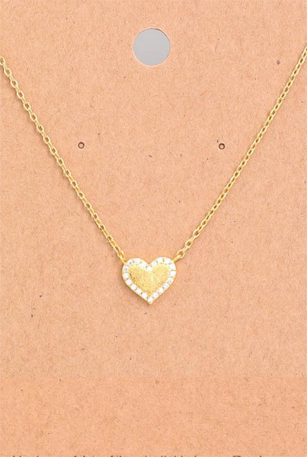 Dainty Jeweled Heart Necklace - Tucker Brown