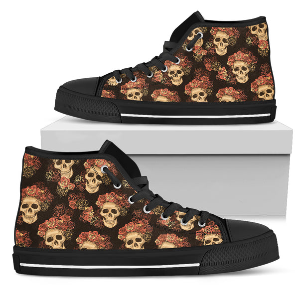 Gothic Skull & Roses women's High Top Shoes