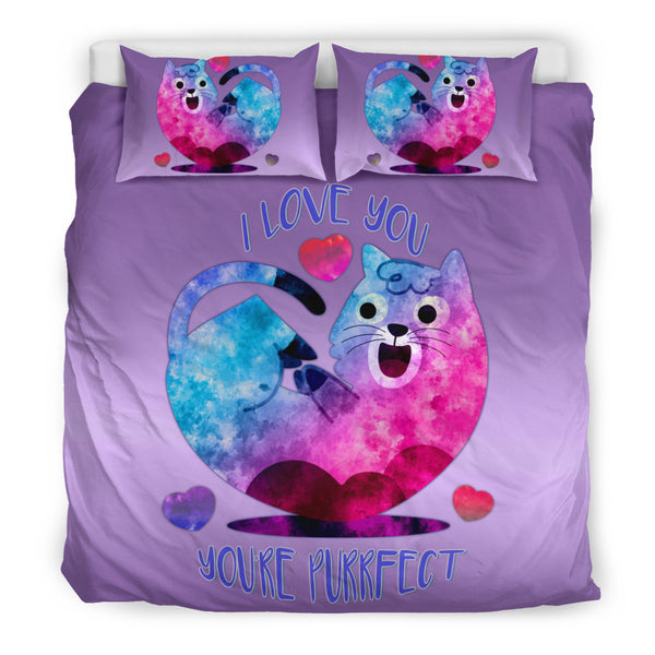 I Love You You're Purrfect Bedding Set for Cat Lovers