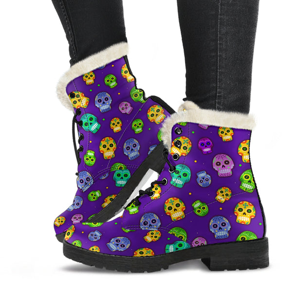 Muerto Sugar Skulls Faux Fur Lined Vegan Leather Boots for Men & Women
