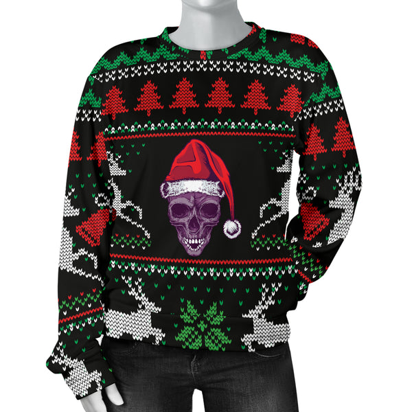 Ugly Christmas Santa Skull Black Women's Sweater