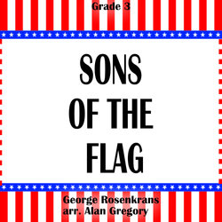 """Sons of the Flag"" - composed by Alan Gregory,  Performance Level = Grade 3.  Band sheet music downloadable instantly in PDF format.  Cost = $ 24."