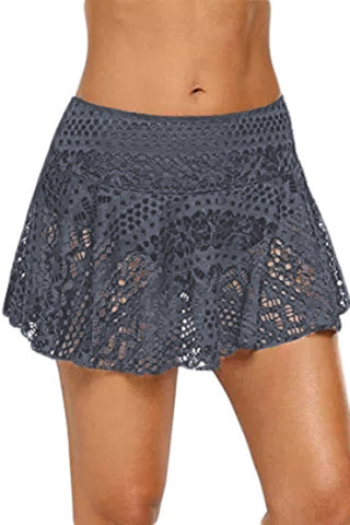 Gray Crochet Lace Skirted Bikini Bottom