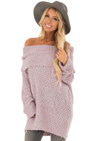 Pink Off The Shoulder Comfy Sweater