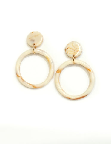 Peyton Acrylic Hoop Earrings (Beige)