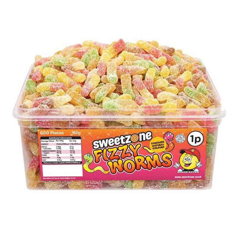Sweetzone Fizzy Worms (1p, 600pcs)-Sweets-Mullaco Online