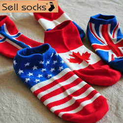 Men Accents - 10 Country National Flag Cotton Ankle Socks (unisex)