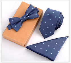 Ties - 3 PCS Slim Tie Set Men Bow Tie And Handkerchief Bowtie Necktie