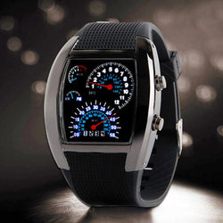 Watches (m) - Blue & White LED Watch Men Black Rubber Speedometer Digital Wrist Watches