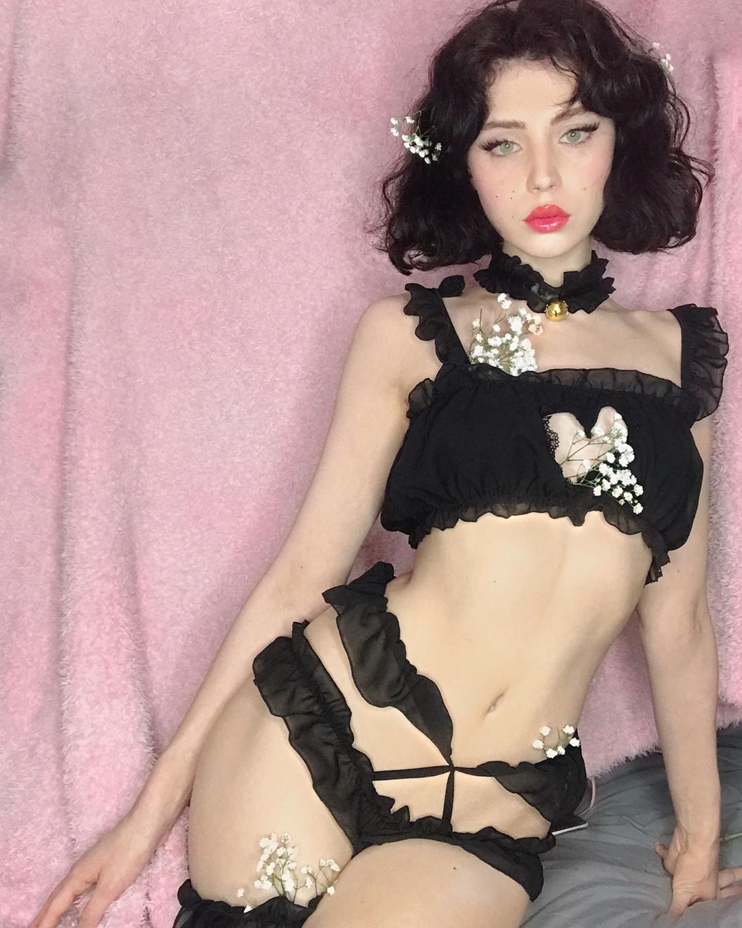 Heart mesh lace sexy suit YV40807