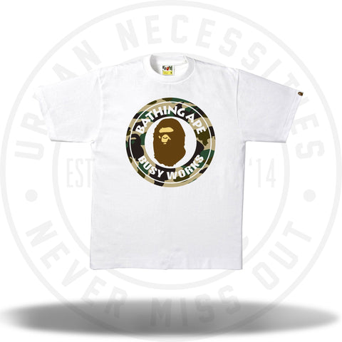 Bape 1st Camo Busy Works Tee White/Yellow-Urban Necessities