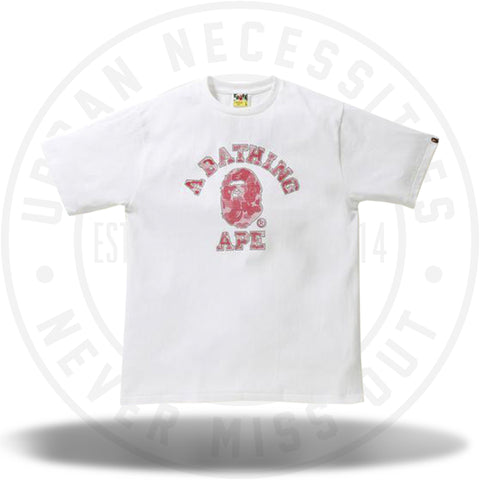 Bape Reflector Noise ABC Camo College Tee White/Red-Urban Necessities