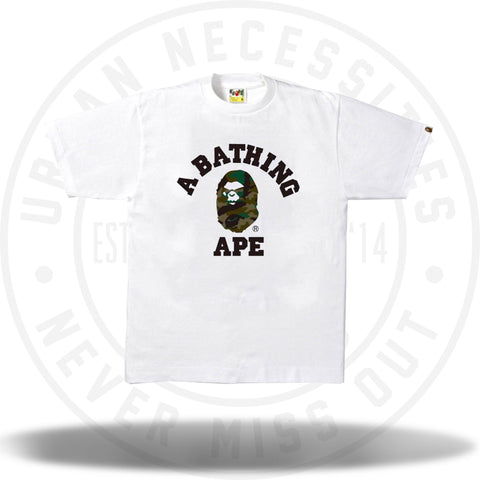 Bape Woodland Camo Mad Face College Tee White/Green-Urban Necessities