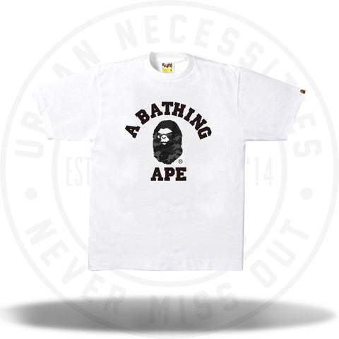 Bape Woodland Camo Mad Face College Tee White/Grey-Urban Necessities