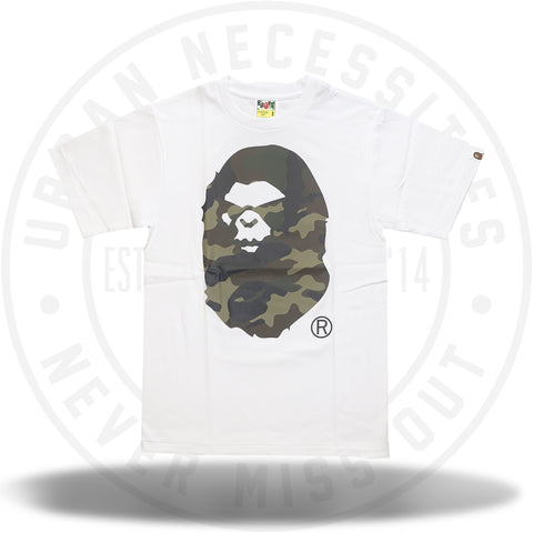 Bape Woodland Camo Mad Face Tee White/Green-Urban Necessities