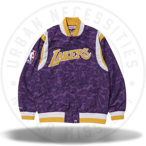 Bape x Mitchell and Ness Lakers Warm Up Jacket Purple-Urban Necessities