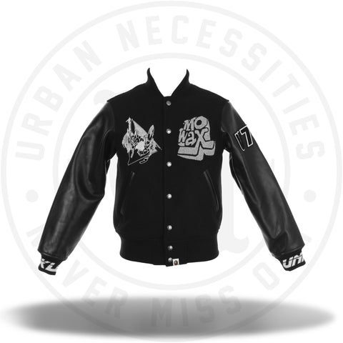 Bape x Mo Wax Varsity Jacket Black/Silver 2014 Capsule Collection-Urban Necessities