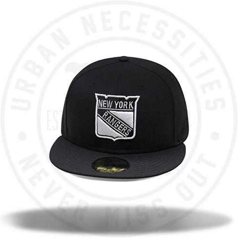 New Era NHL Rangers Fitted Hat Cap All Black/White Logo-Urban Necessities
