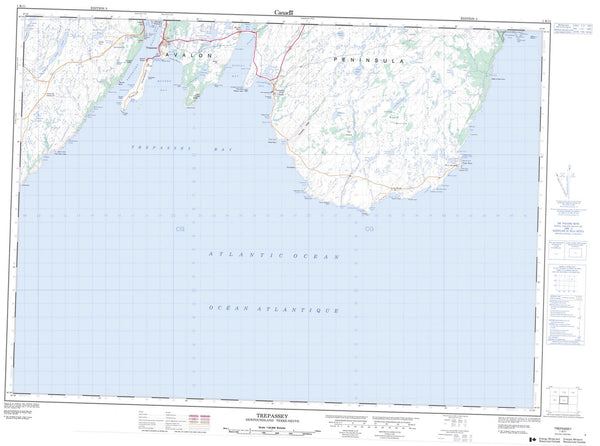 001K11 Trepassey Canadian topographic map, 1:50,000 scale