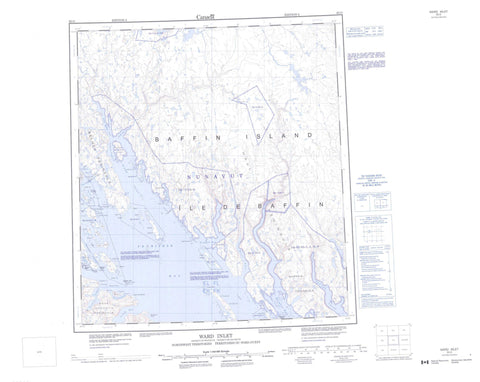 025O Ward Inlet Canadian topographic map, 1:250,000 scale