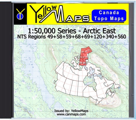 Buy digital map disk YellowMaps Canada Topo Maps: Arctic East