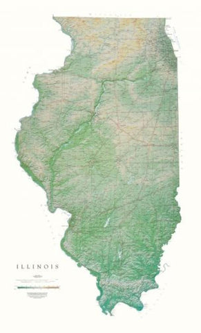 Buy map Illinois, Physical, Laminated Wall Map by Raven Maps