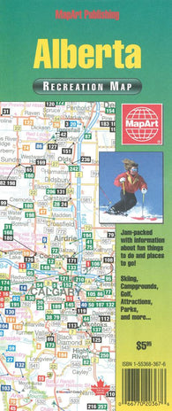 Buy map Alberta Recreation Map by Canadian Cartographics Corporation, MapArt Corporation, Peter Heiler Ltd.