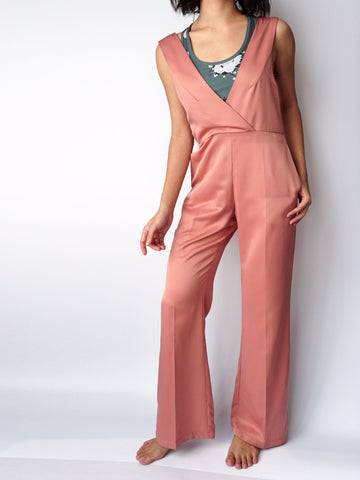 Dusty pocketed vneck silk jumpsuit