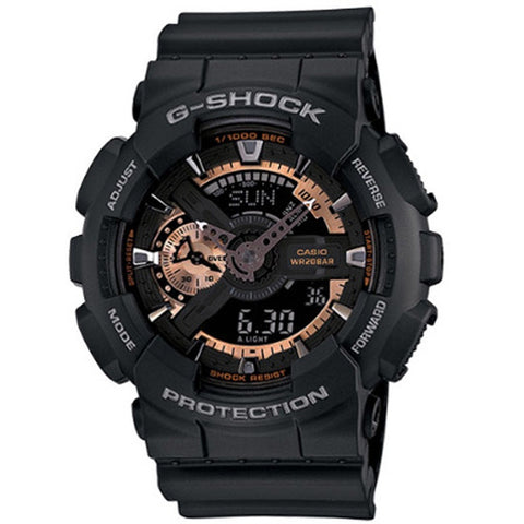 Casio G-Shock Mens Rose Gold/Black Resin Strap Watch GA-110RG-1A