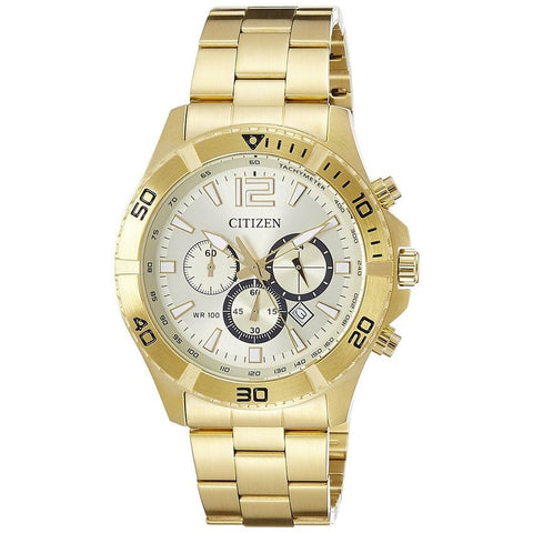 Citizen Men's Chronograph Gold Dial Stainless Steel Analog Watch AN8122-51P